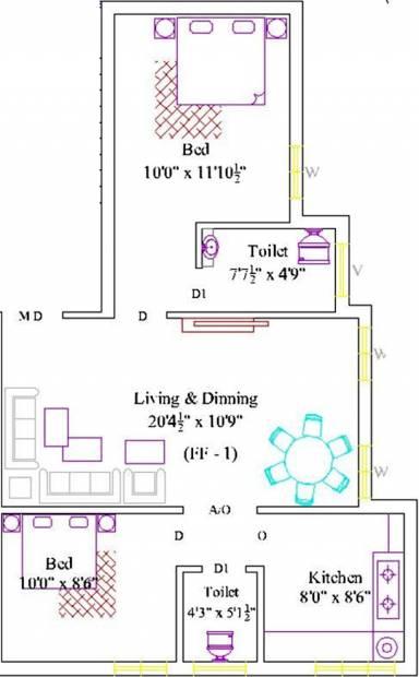 RR Santhosam (2BHK+2T (828 sq ft) 828 sq ft)