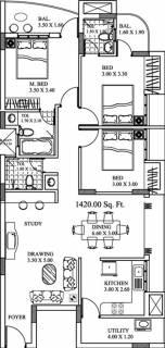 1420 sq ft 3 BHK Floor Plan Image