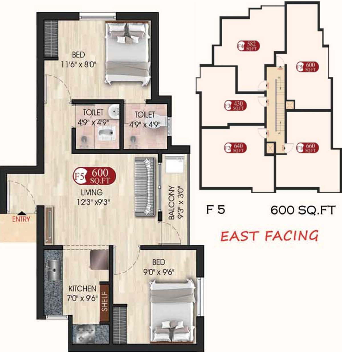 600 Sq Ft 2 Bhk 2t Apartment For Sale In Bhaveshwar