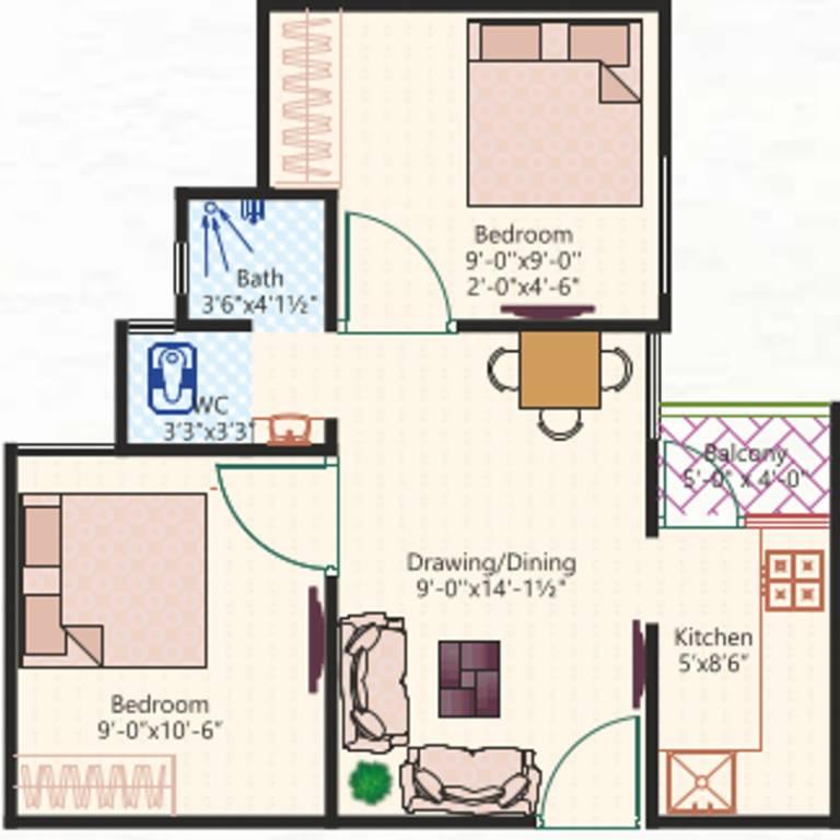 550 sq ft 2 bhk 2t apartment for sale in shree ram group shubh aangan pushp vatika jaipur. Black Bedroom Furniture Sets. Home Design Ideas