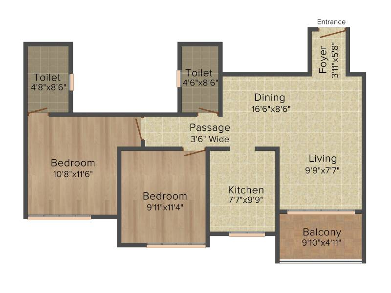 Ideal Ideal Heights (2BHK+2T (1,130 sq ft) 1130 sq ft)