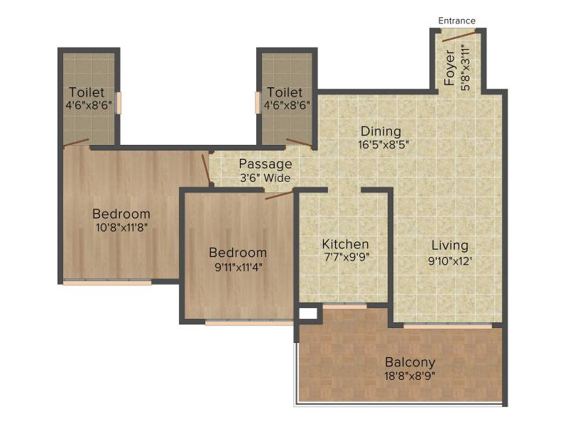 Ideal Ideal Heights (2BHK+2T (1,330 sq ft) 1330 sq ft)