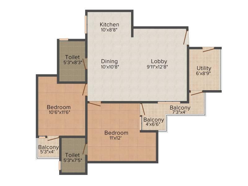 Finstem Fin Castle Residency (2BHK+2T (1,330 sq ft) 1330 sq ft)