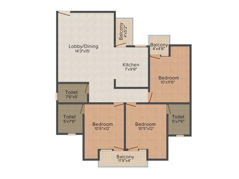 Finstem Fin Castle Residency (3BHK+3T (1,525 sq ft) 1525 sq ft)
