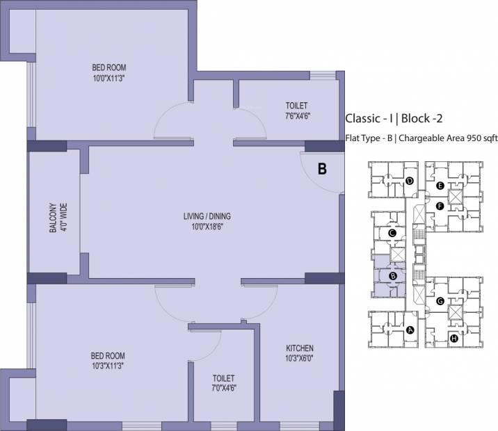 Unimark Unimark Springfield (2BHK+2T (950 sq ft) 950 sq ft)