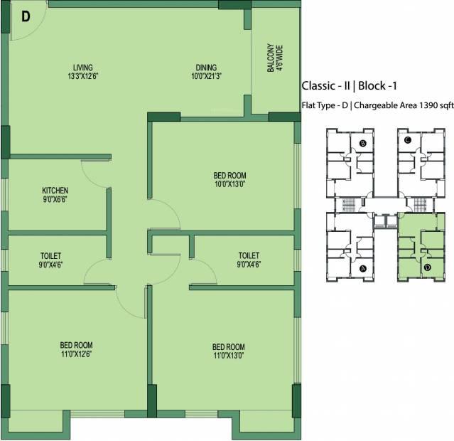 Unimark Unimark Springfield (3BHK+2T (1,390 sq ft) 1390 sq ft)