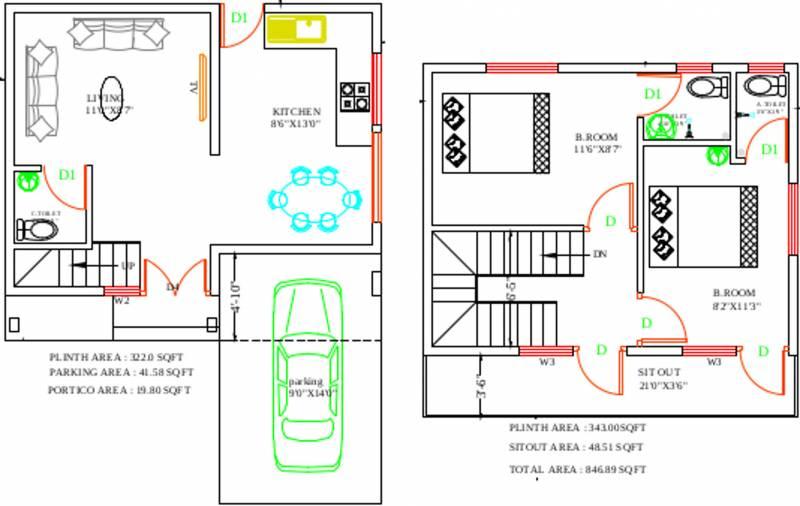 Yesh Farm Villas (2BHK+3T (847 sq ft) 847 sq ft)