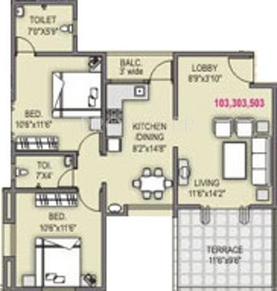 Shah And Associates Le Rayon (2BHK+2T (945 sq ft) 945 sq ft)