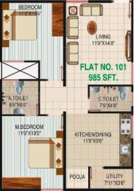 Varaha Sri Varaha Enclave (2BHK+2T (985 sq ft) + Pooja Room 985 sq ft)