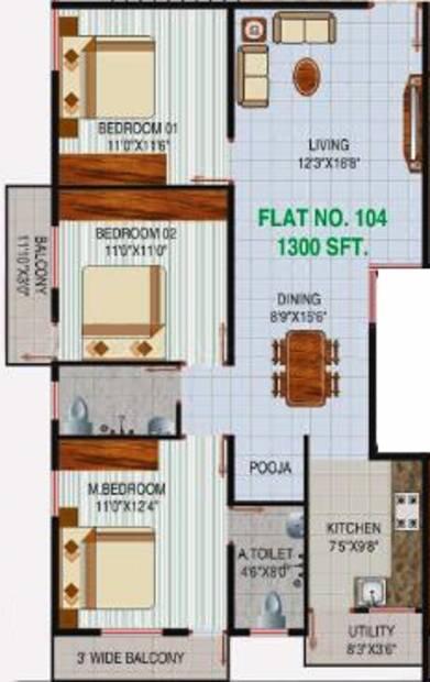 Varaha Sri Varaha Enclave (3BHK+2T (1,300 sq ft) + Pooja Room 1300 sq ft)