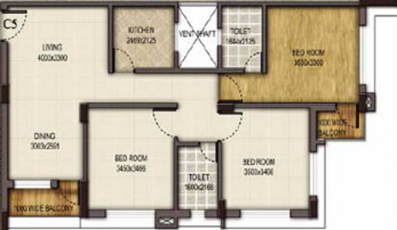 Mounthill Fussion Courtyard (3BHK+2T (1,528 sq ft) 1528 sq ft)