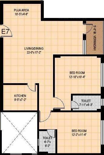 Mounthill Fussion Courtyard (2BHK+2T (1,384 sq ft) 1384 sq ft)