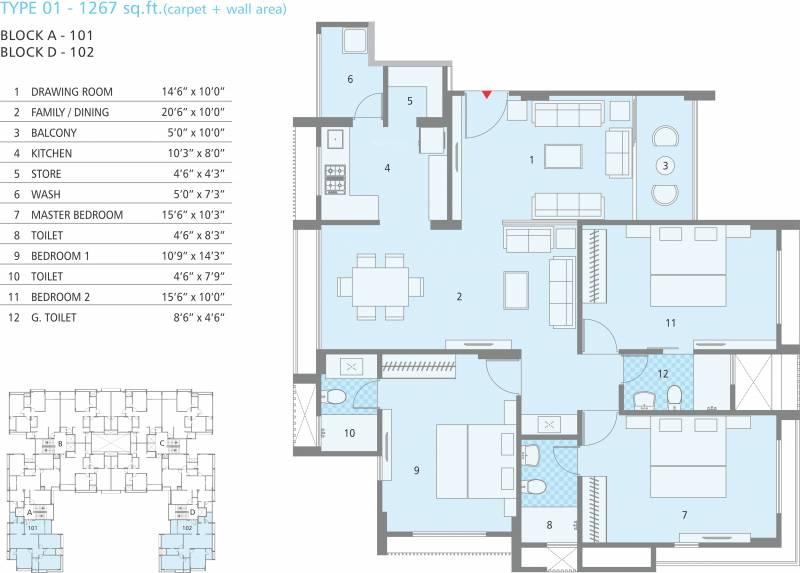 Soham Dev Solitaire (3BHK+3T (1,267 sq ft) 1267 sq ft)