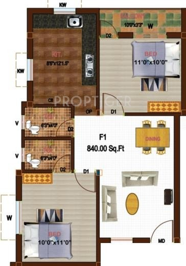 840 sq ft 2 bhk 2t apartment for sale in sikara westend for 840 sq ft house plans
