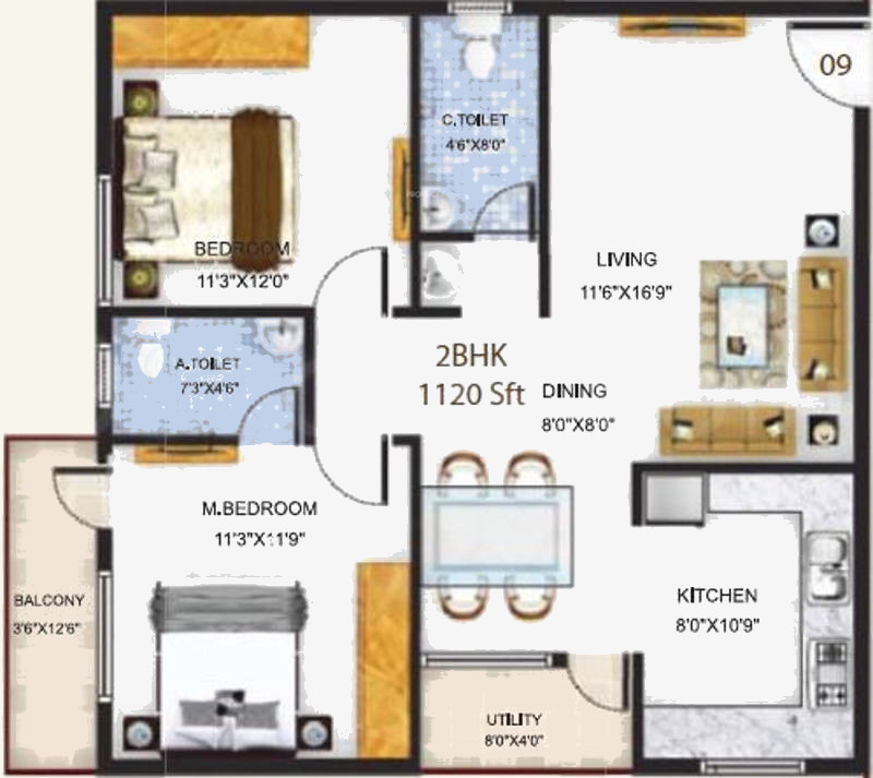 1120 sq ft 2 bhk 2t apartment for sale in baldota group for 1120 westchester place floor plan