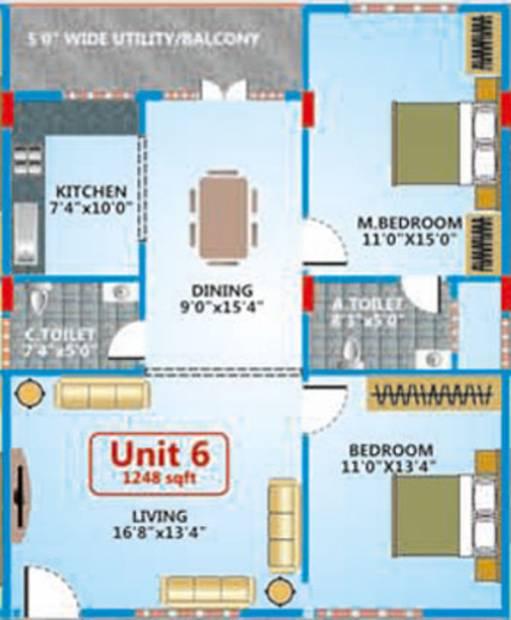 Shakthi Elegant Embassy (2BHK+2T (1,248 sq ft) 1248 sq ft)