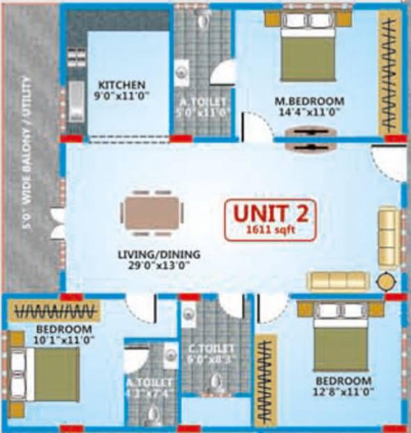 Shakthi Elegant Embassy (3BHK+3T (1,611 sq ft) 1611 sq ft)