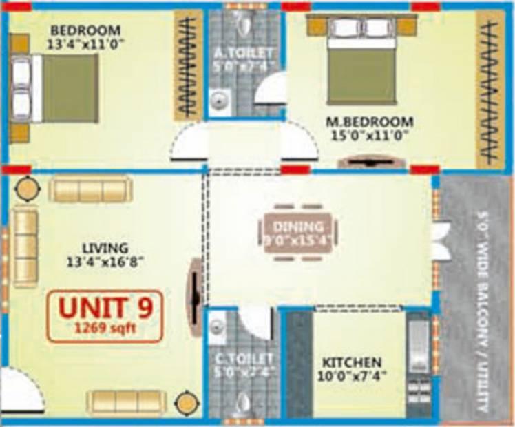 Shakthi Elegant Embassy (2BHK+2T (1,269 sq ft) 1269 sq ft)