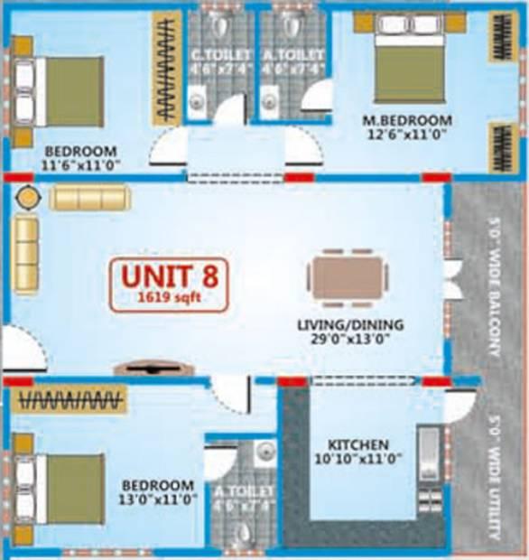 Shakthi Elegant Embassy (3BHK+3T (1,619 sq ft) 1619 sq ft)