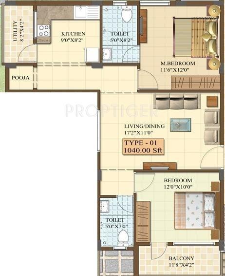 Chalukya Residency (2BHK+2T (1,040 sq ft) 1040 sq ft)