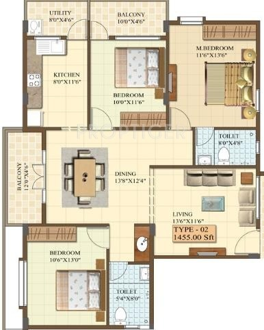 Chalukya Residency (3BHK+2T (1,455 sq ft) 1455 sq ft)