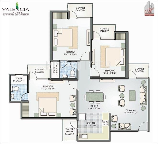 1400 sq ft 3 bhk floor plan image hawelia group valencia for 1400 sq ft