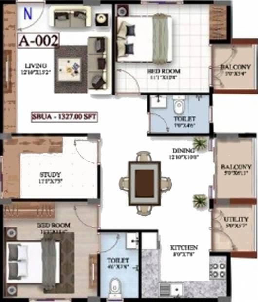 Platina Exotica (2BHK+2T (1,327 sq ft) + Study Room 1327 sq ft)
