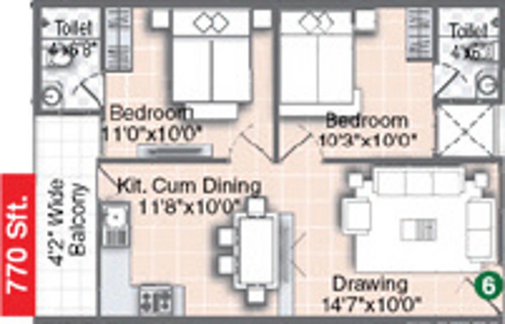 770 Sq Ft 2 Bhk 2t Apartment For Sale In Pavani Pleasant