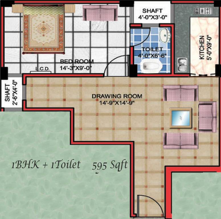 House Plan For 16 Feet By 54 Feet Plot Plot Size 96: 595 Sq Ft 1 BHK 1T Apartment For Sale In APS Group Noida
