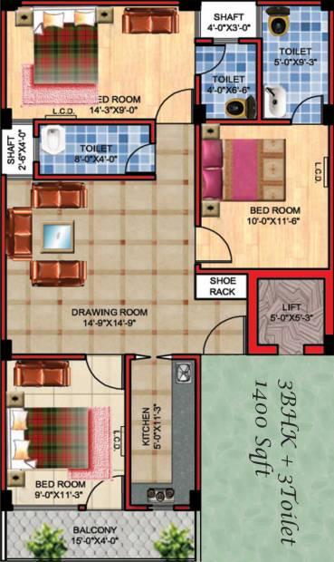 APS APS Royal Homes (3BHK+3T (1,400 sq ft) 1400 sq ft)