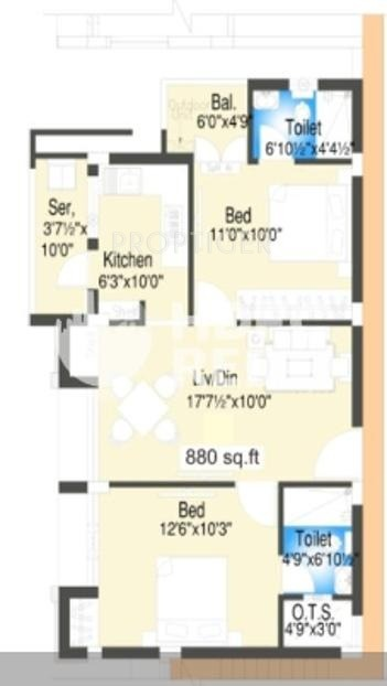 880 Sq Ft 2 BHK Floor Plan Image   Oracle Finex Oracle Residency Available  For Sale   Proptiger.com