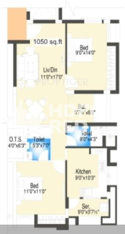 Oracle Finex Oracle Residency (2BHK+2T (1,050 Sq Ft) 1050 Sq Ft