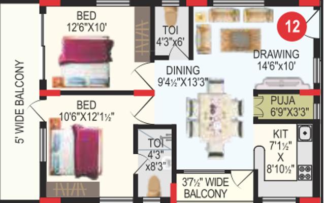 RV Bhaiji Panchajanya (2BHK+2T (1,163 sq ft) + Pooja Room 1163 sq ft)