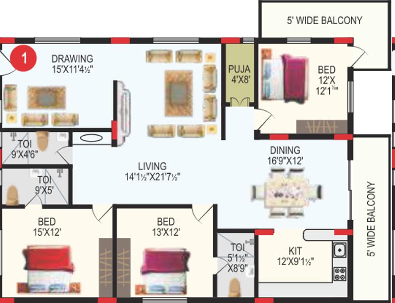 RV Bhaiji Panchajanya (3BHK+3T (2,378 sq ft) + Pooja Room 2378 sq ft)