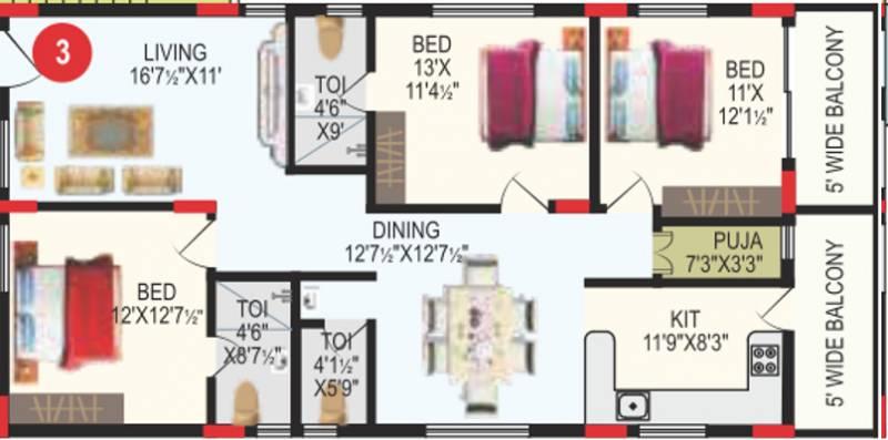 RV Bhaiji Panchajanya (3BHK+3T (1,693 sq ft) + Pooja Room 1693 sq ft)