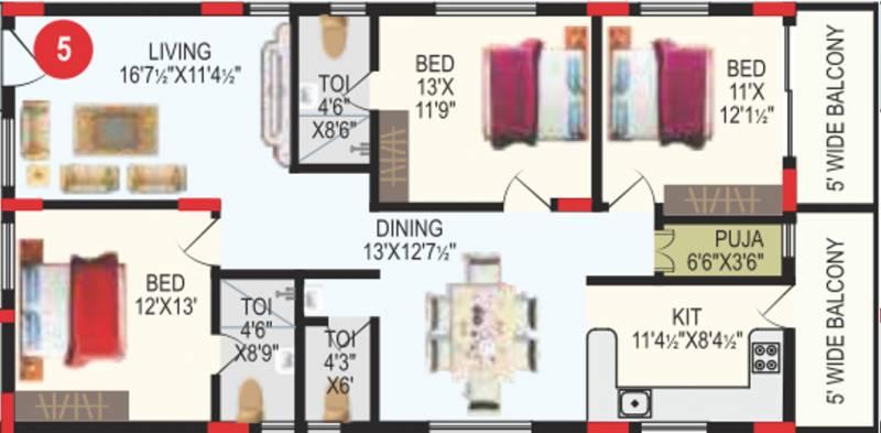 RV Bhaiji Panchajanya (3BHK+3T (1,717 sq ft) + Pooja Room 1717 sq ft)