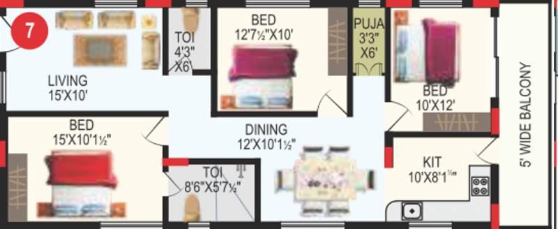 RV Bhaiji Panchajanya (3BHK+2T (1,438 sq ft) + Pooja Room 1438 sq ft)