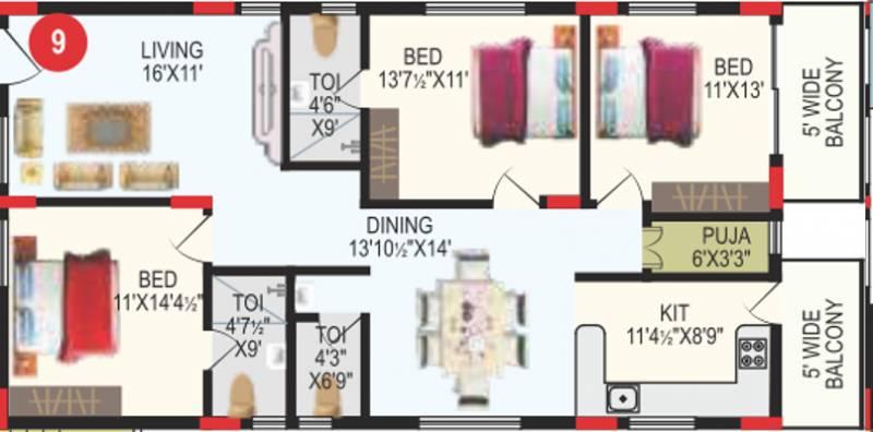 RV Bhaiji Panchajanya (3BHK+3T (1,755 sq ft) + Pooja Room 1755 sq ft)