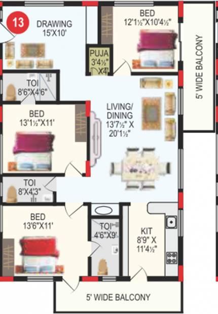 RV Bhaiji Panchajanya (3BHK+3T (1,827 sq ft) + Pooja Room 1827 sq ft)