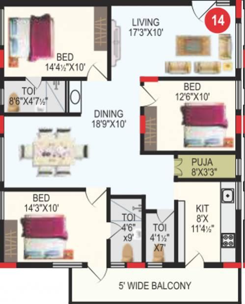 RV Bhaiji Panchajanya (3BHK+3T (1,689 sq ft) + Pooja Room 1689 sq ft)