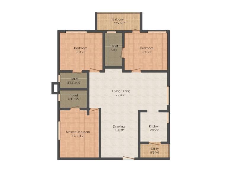 Gowra Green Living (3BHK+3T (1,638 sq ft) 1638 sq ft)