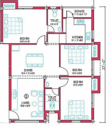 Woodcreek Apartment (3BHK+2T (2,000 sq ft) 2000 sq ft)