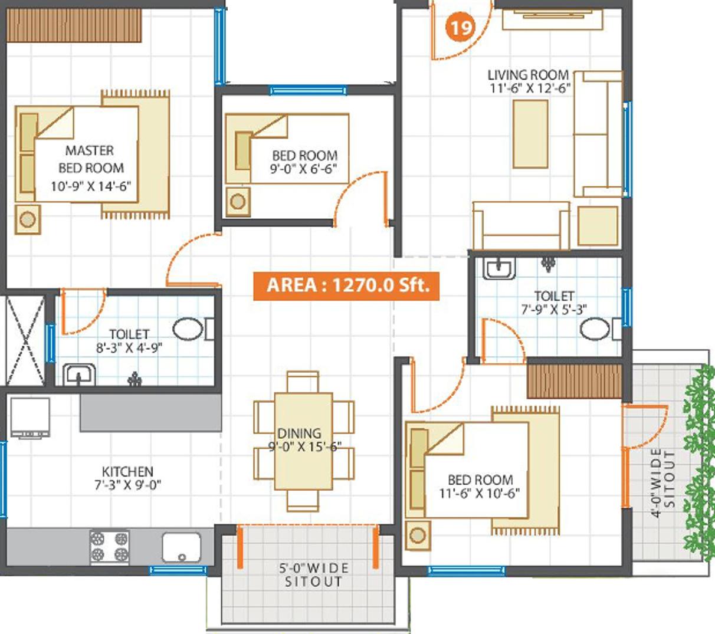Waterscape floor plan propulsive pinnacle in kadugodi for Real estate floor plan pricing