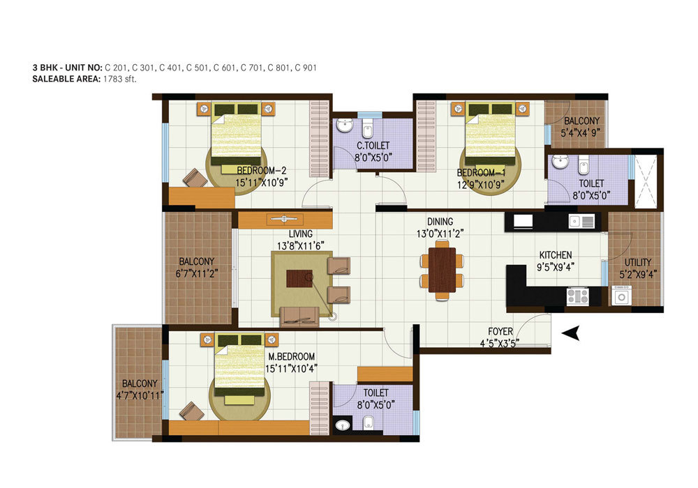 1783 Sq Ft 3 Bhk 3t Apartment For Sale In Century Real