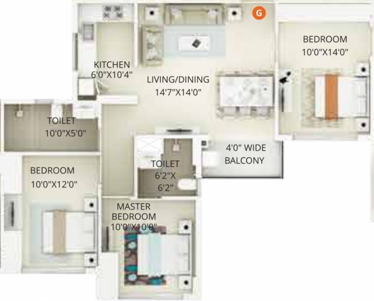 Primarc Projects and Srijan Realty and Riya Group Southwinds (3BHK+2T (1,115 sq ft) 1115 sq ft)
