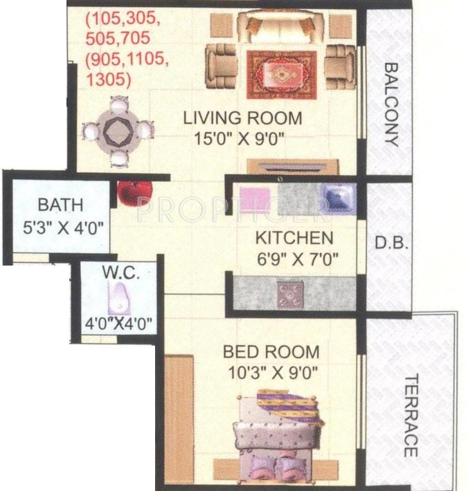 650 sq ft 1 bhk 1t apartment for sale in yug developers for 650 sq ft apartment floor plan