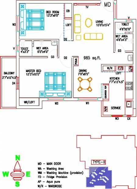 Sree Sai Brindavan (2BHK+2T (985 sq ft) + Pooja Room 985 sq ft)