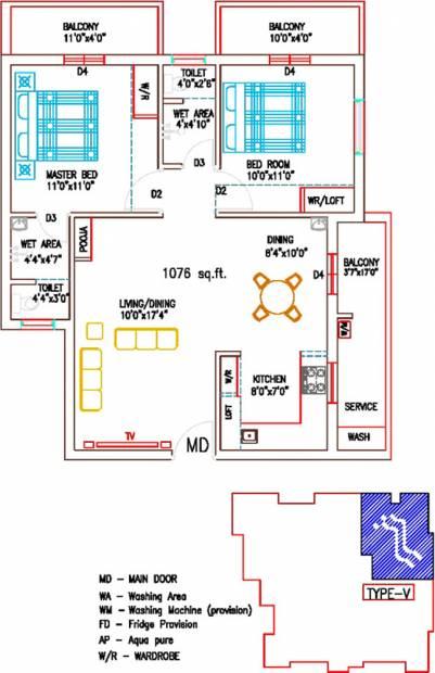 Sree Sai Brindavan (2BHK+2T (1,076 sq ft) + Pooja Room 1076 sq ft)