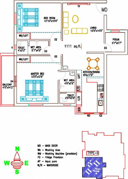 Sree Sai Brindavan (2BHK+2T (1,111 sq ft) + Pooja Room 1111 sq ft)