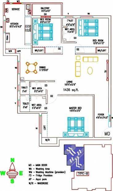 Sree Sai Brindavan (3BHK+3T (1,436 sq ft) + Pooja Room 1436 sq ft)